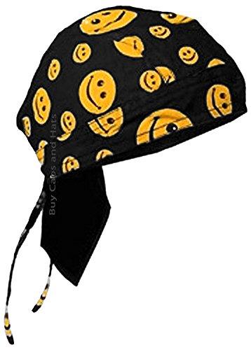 Buy Caps and Hats Smiley Face Doo Rag Black Bandana Chemo Skull Cap Smile Head Wrap