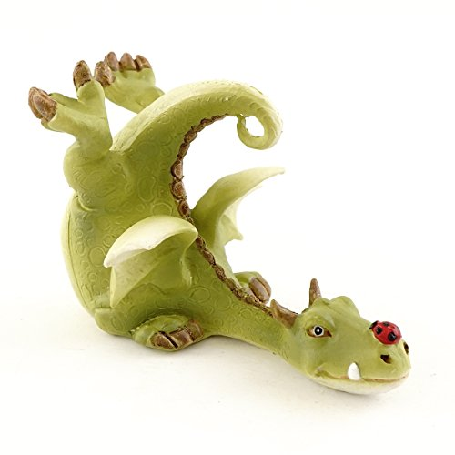 Figurine Bug - Top Collection Miniature Fairy Garden and Terrarium Green Dragon Playing with Ladybug Figurine