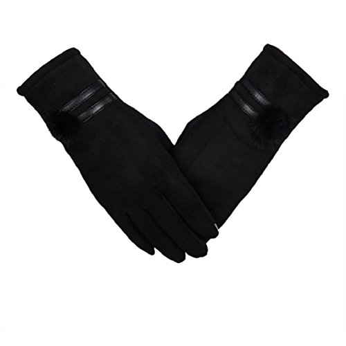 Ikevan Elegant Women's Winter Gloves Touch Screen Warm Cotton Thick Wrist Gloves Womens Pure Color Mittens with Rabbit Hair Ball (Black)
