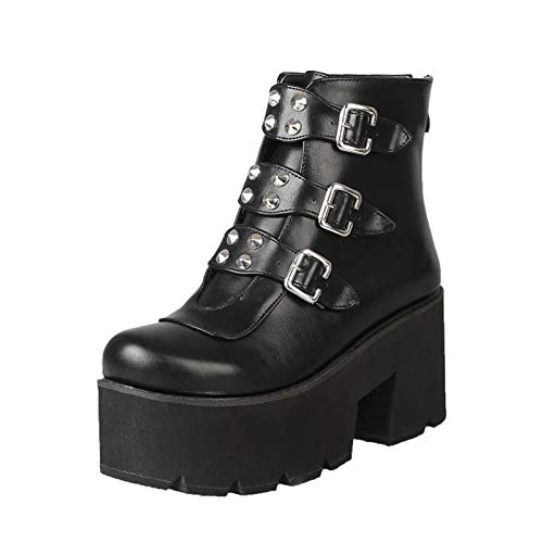 YIYA Women's Studded Mid Calf Combat Boots white Goth Platform Boots Round  Toe Buckle Chunky Heel Booties | Pretty Boots and Shoes