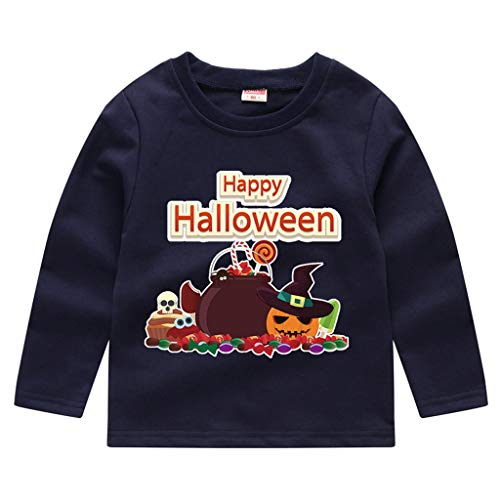 Toddler Kids Long Sleeve T-Shirt,Crytech Baby Boy Girls Trick Or Treat Pumpkin Ghost Skull Print Pullover Sweatshirt Halloween Theme Costume Fall Winter Tee Shirts (3-4 Years, Navy)