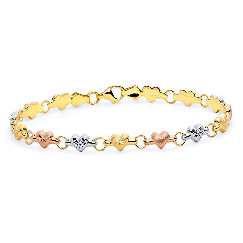 14k Tri Color Gold Diamond Cut Stampato Heart Bracelet with Lobster Claw Clasp - 7.25
