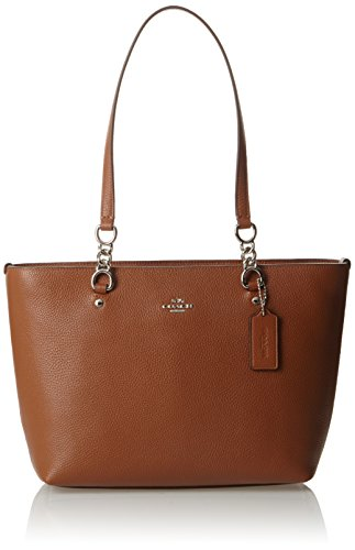 COACH Women's Pebbled Small Sophia Tote SV/Saddle Tote
