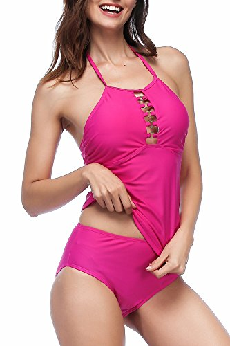 Ring Tankini Halter Top (Spicy Sandia Women's Tankini Swimsuit Metal Ring Halter Neck)