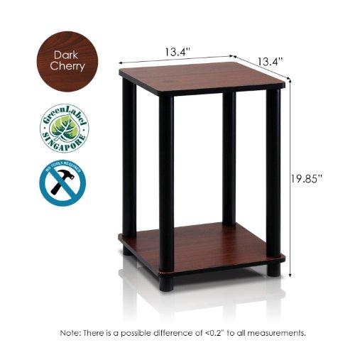 Furinno 2-99800RDC Turn-N-Tube End Table Corner Shelves, Set of 2, Dark Cherry Black