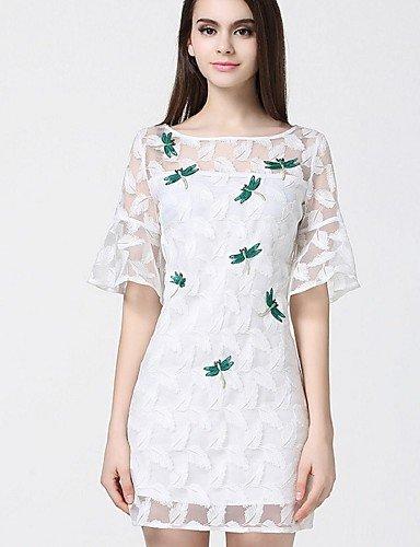 PU&PU Robe Aux femmes Trapèze Simple / Street Chic,Imprimé Col Arrondi Au dessus du genou Polyester , white-s , white-s