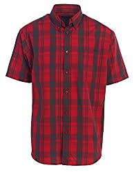 Gioberti Men's Plaid Short Sleeve Shirt, Redblack Checkered, Xx Large