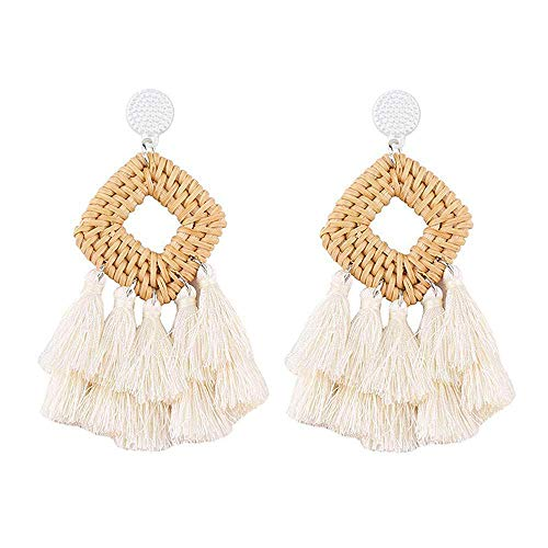 Sunmoon Bohemian Rattan Tassel Earrings for Women Lightweight Boho Jewelry Handmade Weaving Geometric Long Drop Dangle Statement Earrings