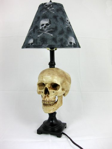 Desk Lamp with Life-size Skull and Bone Shade -