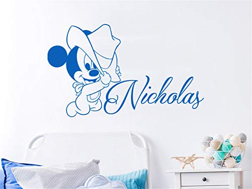 Fuirs Lettering Words Wall Mural DIY Removable Sticker Decoration Boys Name Mickey Mouse Cartoon Lovelys Custom Name Personalized for Bedroom Nursery