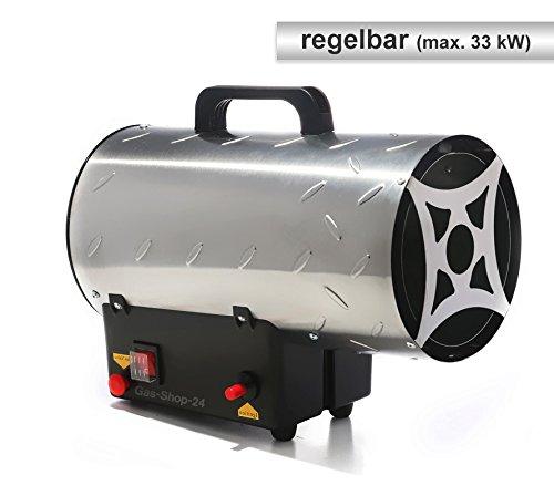 Edelstahl Gasheizgebl/äse // Heizgebl/äse mit Regulierung max SBS Gasschlauch Heizer, Heizkanone, Hallenheizung, Zeltheizung, Gas Heizung, Heizl/üfter, regelbar Druckminderer u 33 kW