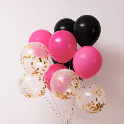 Black and Rose red Balloons,40 pcs Black Balloons Rose red Balloons Gold Confetti Balloons for Great Gatsby Party, Hollywood Party, Oscar Decorations