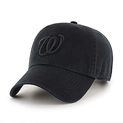 '47 Washington Nationals Hat MLB Authentic Brand Clean Up Adjustable Strapback Black Baseball Cap Adult One Size Men & Women 100% Cotton from '47