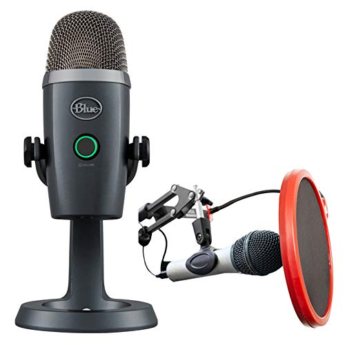 BLUE MICROPHONES Yeti Nano Premium USB Microphone Shadow Grey (281) with Deco Gear Universal Pop Filter Microphone Wind Screen with Goose Neck Mic Stand Clip