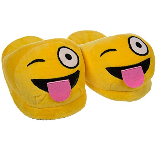 Emoji House Slippers Funny Tongue Out Winking Smiley Girls M: Fits sizes 2-3