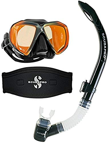 Scubapro Spectra Scuba Dive Mask Black Bronze Mirrored Lens w/Neoprene Strap Cover & Escape Semi-Dry Snorkel