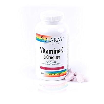 Solaray – Vitamina C 500 mg – Energie tono Vitalité – Frasco de 100 Pastilles à