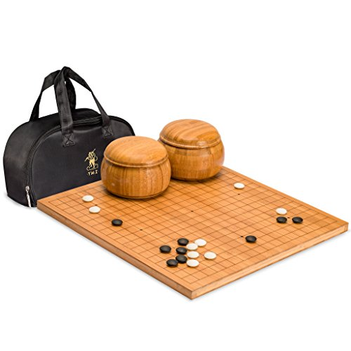 Yellow Mountain Imports Go Game Set with Etched Bamboo Go Board (0.8 Inch Thick), Double Convex Yunzi Stones (Size 33) and Bamboo Bowls -