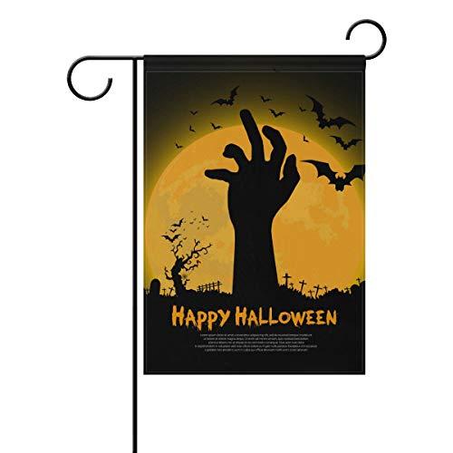 senya Happy Halloween with Zombie Hand Fabric Garden Flags Banner for Indoor & Outdoor Decoration Party 12