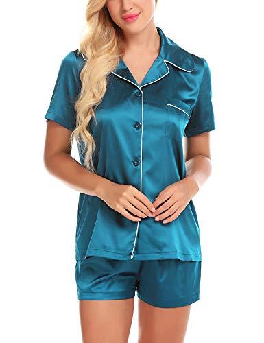 ZHENWEI Satin Pajama Set for Women 80s Pjs 2 Piece Sleepwear Button Lounge Pyjama Blue L