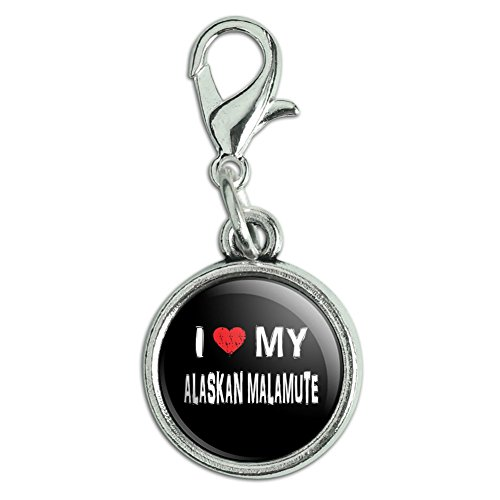 Antiqued Bracelet Pendant Zipper Pull Charm with Lobster Clasp I Love My Dog A-B - Alaskan Malamute