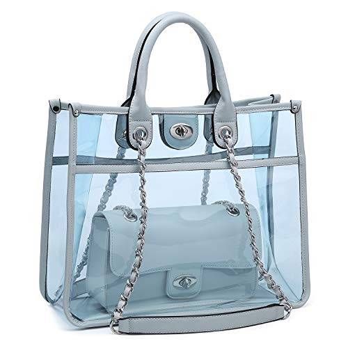 Large Clear Tote Bag PVC Top Handle Shoulder Bag 2 Pieces Set With Turn Lock Closure (Blue)