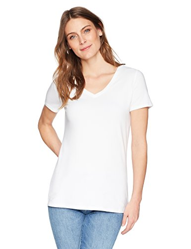 Amazon Essentials Women's 2-Pack Short-Sleeve V-Neck Solid T-Shirt, Black/White, Small by Amazon Essentials (Image #2)