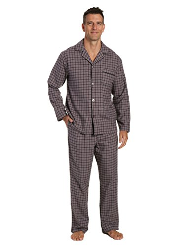 Men's 100% Cotton Flannel Pajama Set - Checks Charcoal-Black - Medium