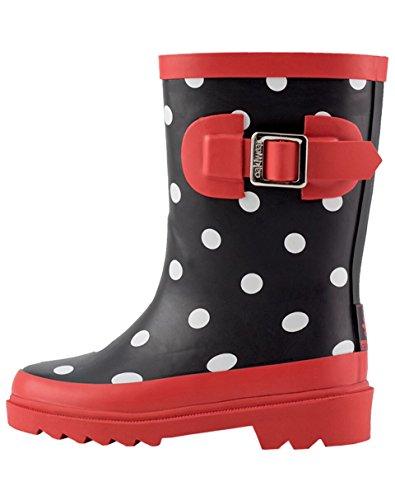 Rain Boots, Black, White & Red Polka Dots, 2Y US Big Kid ()