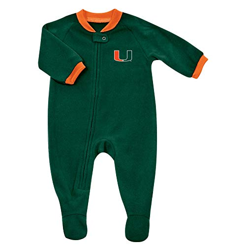 (Pro Edge Infants NCAA University of Miami Hurricanes Fleece Blanket Sleeper Foot Pajamas (Miami Hurricanes, 6-9 Months))