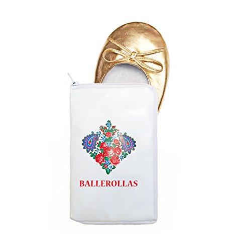 Bailarinas plegable para viajar Ball rollas–Compacto Guantes–Cambio, Oro, 41–42