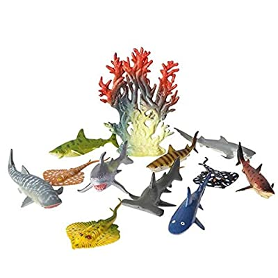 Rhode Island Novelty Shark and Stingray Playset: 12 Piece Toy Set in Clip Bag for Play on The GO!: Toys & Games