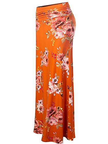 MixMatchy Women's [Made in USA] Basic Foldable High Waist Regular and Plus Size Maxi Skirts FLO B Orange Print S ()