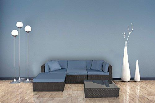 GOJOOASIS Outdoor Patio PE Wicker Rattan Sofa Sectional Furniture Conversation Set with Cushion and Pillow, Steel Frame, Black (5pcs Rattan Sofa SET) -