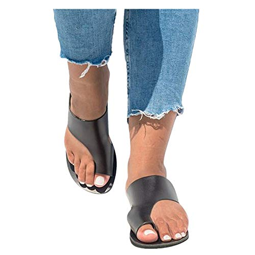 Platform Sandals for Women- 2019 New Comfort Flip Flops Wedge Shoes Flats Beach Casual Slippers (Black -4, EU:35/US:5.0)