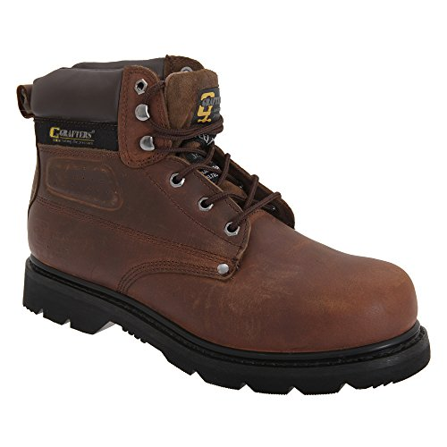 Mens Safety Boots Grafters Gladiator Oil Heat Resist Comfy Leather Work Shoes Brown vVvWpKg