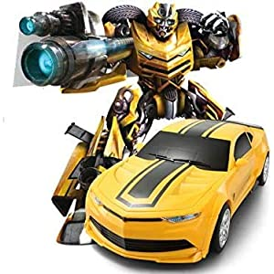 Helloberry Bumblebee Style RC Robot Transformer Car Wireless Remote Control 2.4GHz – Dazzling Lights & Dynamic Sound – 2…