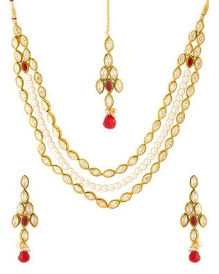 Colors Voylla Navrang Radiant Pearl With Cz Diamond Necklace Set
