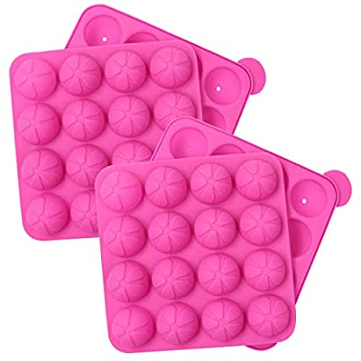 Tosnail 2 Pack of 16-Cavity Silicone Cake Pop Mold Lollipop Mold - Great for Hard Candy, Lollipop and Party Cupcake
