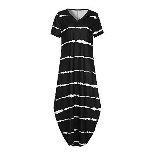 JESPER Women's Casual Chiffon Striped Short Sleeved Pocket Split Irregular Hem Long Beach Dress Black by JESPER (Image #6)
