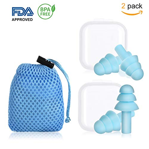 2 Pair of Earplugs Silicone Ear Plugs Noise Cancelling Comfortable Reusable Waterproof Earplugs for Sleeping Snoring Swimming Concerts Shooting and Airplanes with Travel Blue