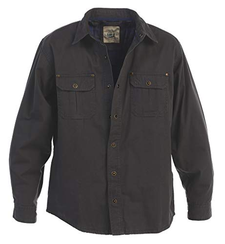 - Gioberti Men's Brushed and Soft Twill Shirt Jacket with Flannel Lining, Charcoal, 2XL