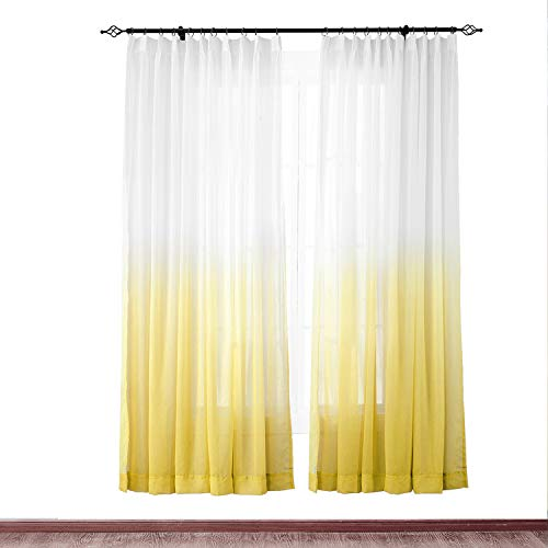 "cololeaf Indoor Outdoor Gradient Ombre Sheer Curtain for Patio| Porch| Gazebo| Pergola | Cabana | Dock| Beach Home| Backyard| Country| Garden| Wedding - Pinch Pleat - Yellow 52"" W x 96"" L (1 Panel)"
