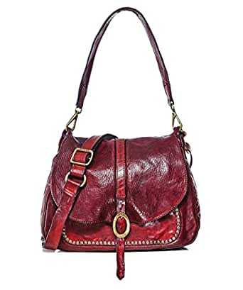 Campomaggi Women's Medium Leather Studded Shoulder Bag One Size Red