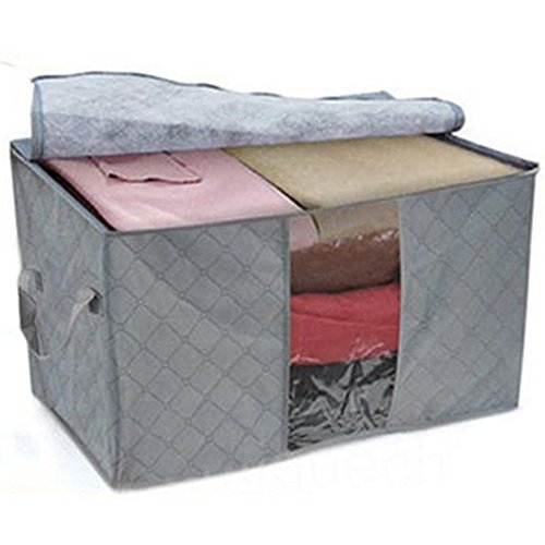 Bamboo Charcoal Quilt Bag Clothes Blanket Storage Zipper Bag See-through Large Folding Bag Closet Box Organizer (Grey)