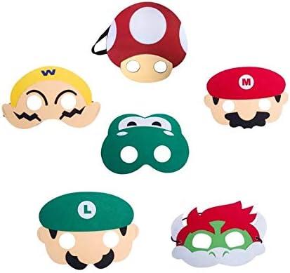 thematys Super Mario Máscara 6er Set cumpleaños y Carnaval ...