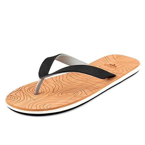 Keplia Skidproof Cool Fashion Hombres Thong Sandalias Chanclas Negro