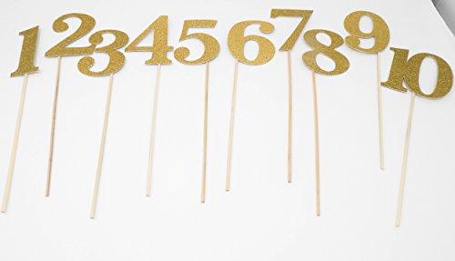 Table Number Wedding Centerpiece Sticks for DIY Reception Decor (Gold) ()