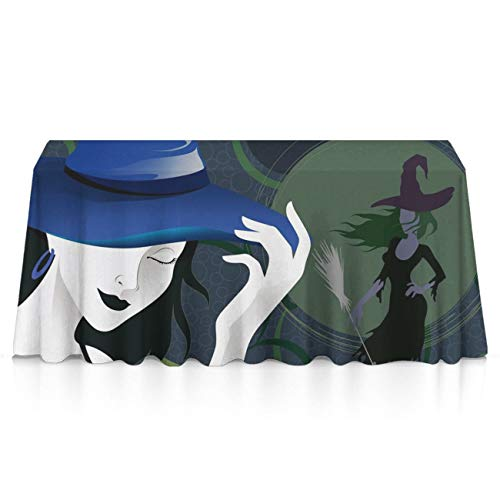 GLORY ART Halloween Witches Drive Stick Rectangle Tablecloth Water Resistant Spill Proof Table Cloth 52x70 inches for Indoor or Outdoor Parties,Dinner,Wedding, Birthday, Picnic, X-mas, Holiday