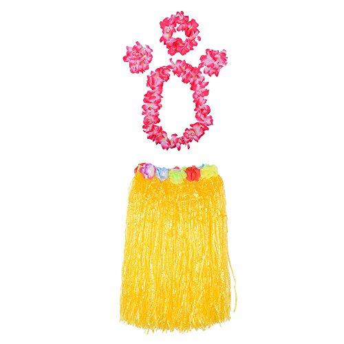Dihope Jupe Hawa?en Hula Danse Herbe Guirlande de Fleurs Couronne Bracelet pour la Dcoration Party Beach Fte Soire Plage Jaune